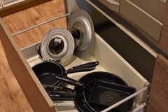 IHクッキングヒーターの下は共用の鍋やフライパンが収納されています。(2017-08-23,共用部,KITCHEN,3F)
