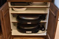 食器収納棚の下には共用のホットプレートが収納されています。(2017-08-23,共用部,KITCHEN,3F)