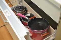 鍋類はシンク下に収納されています。(2014-05-14,共用部,KITCHEN,1F)