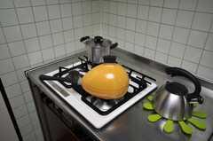 ガスコンロの様子。鍋もかわいいチョイス。(2009-02-10,共用部,KITCHEN,3F)