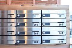 ポストの様子。ポストは専有部ごとに用意されています。amazonの宅配物が入るサイズとのこと。(2016-12-14,周辺環境,ENTRANCE,2F)