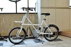 土間に置かれた共用自転車。(2010-10-18,共用部,OTHER,1F)