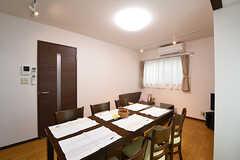 ダイニングテーブルの様子2。奥がソファスペースです。(2016-10-14,共用部,LIVINGROOM,1F)