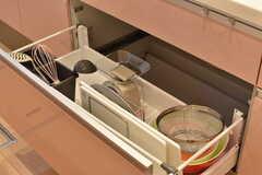 シンクの下は共用のスケールやボウルが収納されています。(2017-09-20,共用部,KITCHEN,1F)