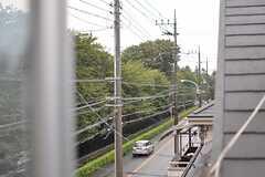 窓から通り沿いの桜並木を眺めることができます。(203号室)(2013-10-02,専有部,ROOM,2F)