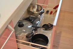 鍋類は引き出しに収納されています。(2017-01-19,共用部,KITCHEN,2F)