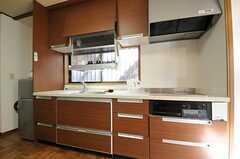 吊り戸棚には電動のディッシュトレイが付いています。(2011-04-28,共用部,KITCHEN,1F)