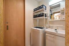 洗濯機と洗面台が並んでいます。左手のドアはシャワールームです。(2017-05-31,共用部,LAUNDRY,1F)
