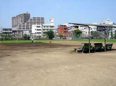 駅前は大きな公園になっており、サッカーや野球用のグラウンドもある。(2005-08-03,共用部,ENVIRONMENT,)