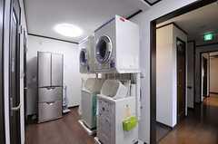 洗濯機と乾燥機の様子。左手奧には冷蔵庫もあり、キッチンと合わせて2台設置されています。(2012-02-09,共用部,LAUNDRY,2F)