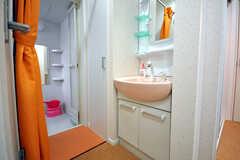 玄関横の洗面台、バスルームの様子。(2010-04-09,共用部,BATH,1F)
