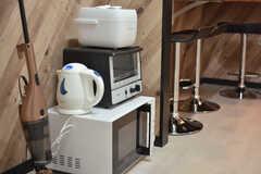 キッチン家電の様子。冷蔵庫と収納棚が設置される予定です。(2021-03-01,共用部,KITCHEN,4F)
