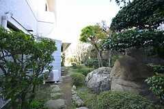 庭の様子。大きな石が置かれています。(2014-03-14,共用部,OTHER,1F)