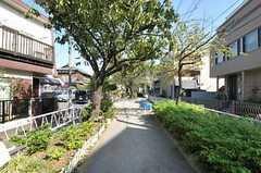 シェアハウスから東急東横線・都立大学駅へ向かう緑道の様子。遊具も置いてあります。(2011-10-28,共用部,ENVIRONMENT,2F)