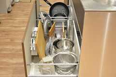 シンクの下は共用の鍋やフライパンが収納されています。(2016-09-02,共用部,KITCHEN,1F)