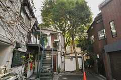 シェアハウスの外観2。建物のまわりには背の高い木に囲まれています。(2012-10-05,共用部,OUTLOOK,1F)