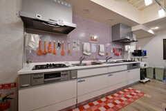 キッチンの様子。シンクとガスコンロが2台ずつ設置されています。(2018-02-09,共用部,KITCHEN,1F)