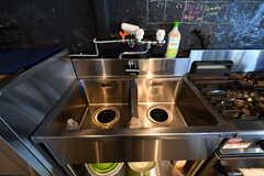 シンクの様子。キッチンは業務用です。(2017-08-31,共用部,KITCHEN,1F)