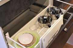 シンクの下は共用の鍋やボウルが収納されています。(2017-01-12,共用部,KITCHEN,1F)