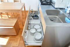 食器類やフライパンなどは引き出しに収納されています。(2017-03-08,共用部,KITCHEN,2F)
