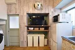 共用TVはCATVが視聴可能です。上から白クマが優しく見守ります。(2016-04-20,共用部,TV,1F)