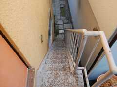 階段の様子。細い。(2階から1階)(2008-02-27,共用部,OTHER,2F)