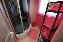 シャワールームの様子。入って右手にシャンプー等を置ける収納があります。(2012-08-07,共用部,BATH,1F)