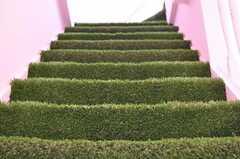 階段には芝が敷かれています。(2012-04-16,共用部,OTHER,3F)