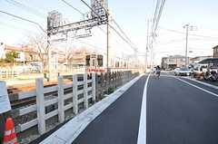 商店街を抜けると線路添い。線路の反対側には桜並木があります。(2013-01-07,共用部,ENVIRONMENT,1F)