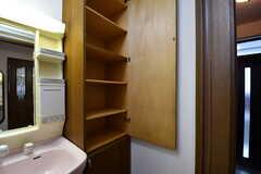 洗面台の脇は専有部ごとにスペースが用意されています。(2017-10-04,共用部,OTHER,1F)