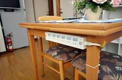 テーブル横からは電源が取れるようになっている。(2009-04-23,共用部,OTHER,1F)