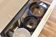 シンクの下に共用の鍋やフライパンが収納されています。(2019-01-25,共用部,KITCHEN,1F)