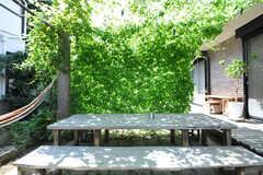 庭のテーブルにはゴーヤのグリーンカーテンが掛かっていました。(2013-09-02,共用部,OTHER,1F)