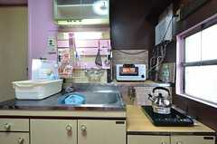 キッチンの様子2。1口IHクッキングヒーターです。(2015-11-16,共用部,KITCHEN,4F)