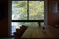 窓の外には緑が生い茂っています。(2016-03-15,共用部,LIVINGROOM,2F)