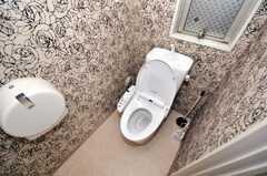 壁紙が特徴的なトイレ。(2010-02-05,共用部,TOILET,1F)