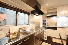 キッチンはL字型です。シンクとIHクッキングヒーターが1つずつ設置されています。(2016-07-21,共用部,KITCHEN,1F)