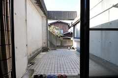 廊下の吐き出し窓から屋上に上がることが出来ます。(2012-01-31,共用部,OTHER,2F)