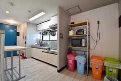 キッチンの様子。キッチンの脇には収納棚が用意されています。収納棚にはキッチン家電が置かれています。(2017-06-08,共用部,KITCHEN,3F)