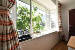 出窓にはDVDプレーヤーと、観葉植物が設置されています。(2018-05-22,共用部,OTHER,1F)