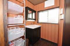 洗面台の様子。洗面用具のストッカーも設置。(2009-11-06,共用部,TOILET,1F)