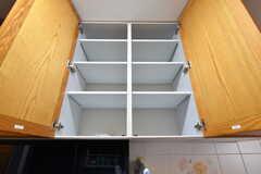 吊り棚は入居者さんが使える収納スペース。(2017-03-24,共用部,KITCHEN,1F)