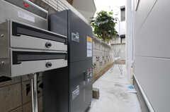 ポストと宅配ボックスの様子。(2011-01-28,共用部,OTHER,2F)