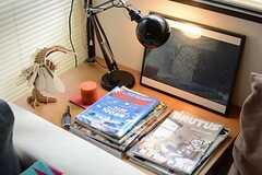 アウトドアや旅物の雑誌が置かれています。(2015-06-08,共用部,LIVINGROOM,1F)