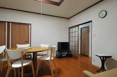 ソファ脇から見たTVの様子。リビングに面して102、103号室があります。(2013-06-07,共用部,LIVINGROOM,1F)
