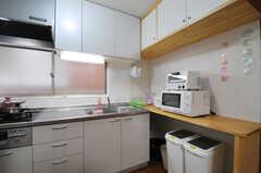 吊り戸棚が部屋ごとの収納スペースです。カウンター下にはゴミ箱があります。(2013-06-07,共用部,KITCHEN,1F)
