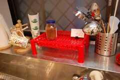 シェアハウスのキッチンの様子3。細かい備品が並ぶ。(2008-05-03,共用部,OTHER,1F)