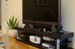共用TVの様子。TV台はスピーカーを兼ねるハイテクスペック。(2013-06-20,共用部,TV,)