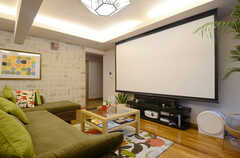 TV上部にはシルクスクリーンが収納されています。プロジェクターも用意されています。(2013-06-20,共用部,LIVINGROOM,)