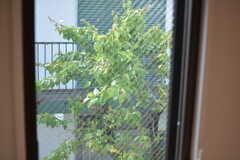 窓の外には隣地の緑が見えます。(301号室)(2018-04-25,専有部,ROOM,3F)